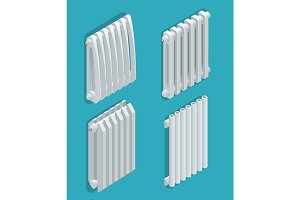 Isometric white Heating Radiator. Home climate equipment icon with controls. Can be used for advertisement, infographics