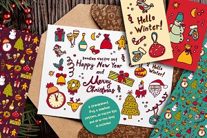 New Year and Xmas doodles vector set