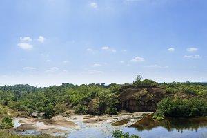 panorama waterfall that flows