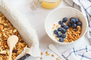 granola with nuts and honey