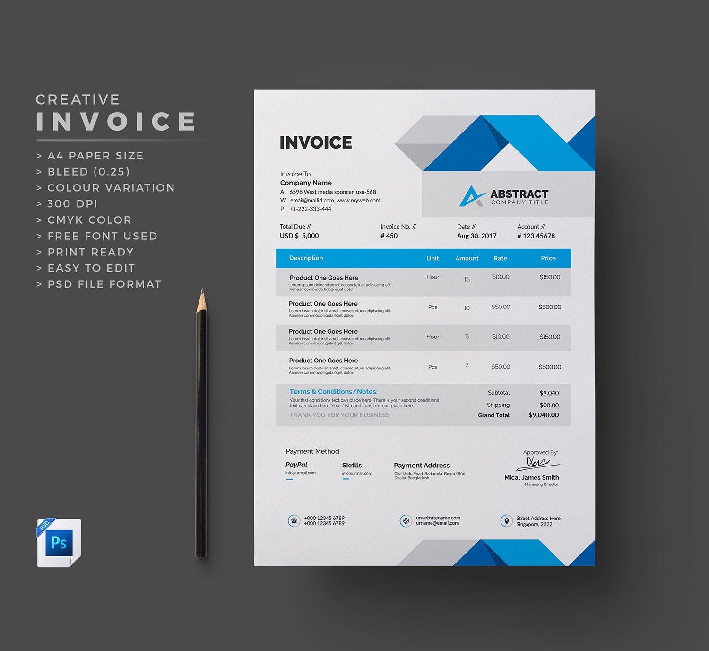 Invoice ~ Stationery Templates ~ Creative Market