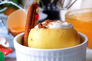 baked apple cinnamon whipped egg whites with sugar dessert baking sweet cream topping