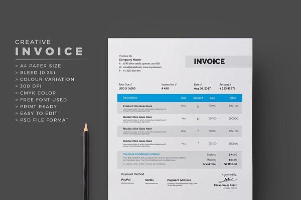 Modern Invoice Creative Photoshop Templates Creative Market
