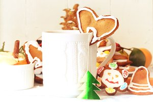 Christmas breakfast tea with Gingerbread Cookie baking cinnamon dessert