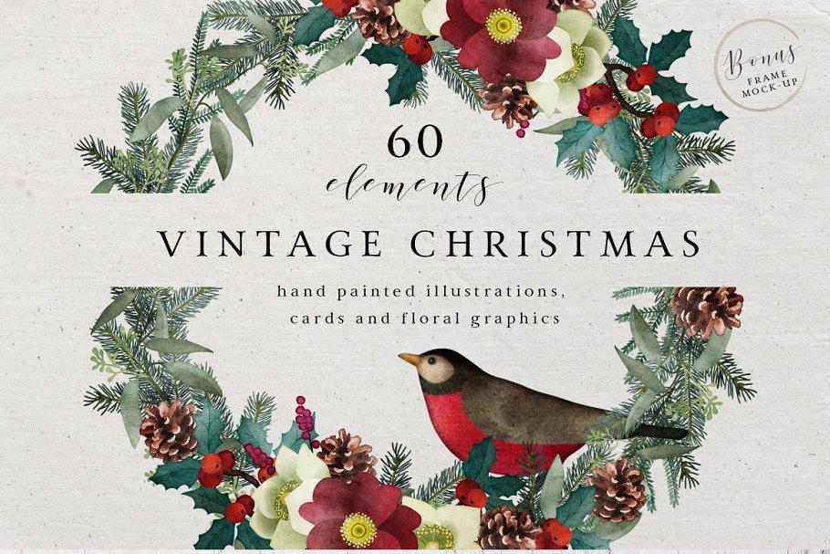 Vintage Christmas Illustrations.Vintage Christmas Watercolor Set Illustrations Creative