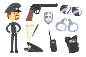 Professional Policeman And His Tools, Man And His Profession Attributes Set Of Isolated Cartoon Objects