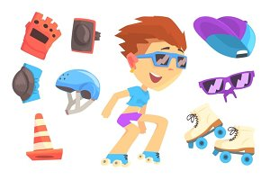 Roller skating boy, set for label design. Colorful cartoon detailed Illustrations