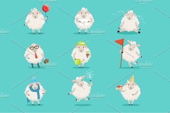 Funny Cute Little Sheep Cartoon Characters Set For Label Design Colorful Detailed Vector Illustrations Isolated On White Background