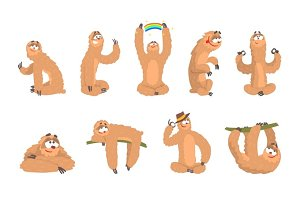 Sloth Animal Cute Cartoon Character Different Life Situations And Emotions Series Of Flat Cartoon Stickers