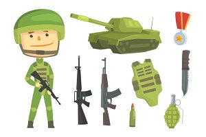 Soldier and professional army weapon, set for label design. Colorful cartoon detailed Illustrations