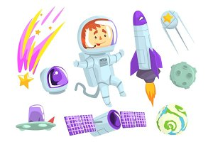 Astronauts in space, set for label design. Cosmos exploration colorful cartoon detailed Illustrations