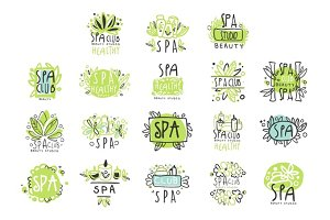 SPA healthy beauty studio set for label design. Health and beauty care. Colorful vector Illustrations