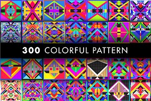 300 Colorful Retro Geometric Pattern