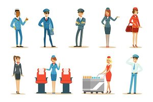 Commercial Flight Board Crew Set Of Air Transportation Professionals Working On The Plane, Stewardesses And Pilots