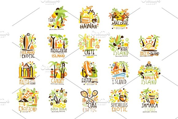 Madagascar Crete Bali Seychelles Ibiza Jamaica Resort Set For Label Design Summer Beach Tourism And Rest Vector Illustrations