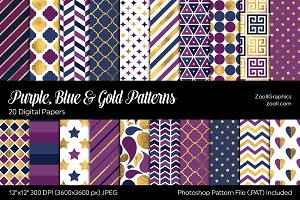 Purple, Blue & Gold Digital Papers