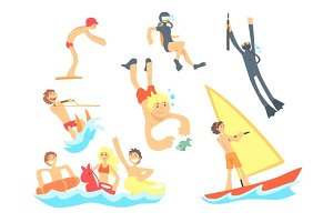 People On Summer Vacation At The Sea Playing And Having Fun With Water Sports On The Beach Set Of Illustrations