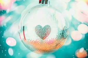 Hanging Christmas ball with heart