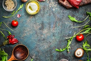 Food frame with steak and ingredient