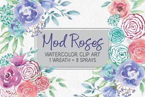 Watercolor wreath of 'mod' roses