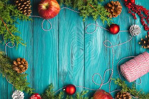 Christmas dark green frame background