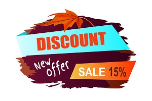 Discount New Offer Sale 15% Vector Illustration