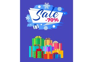 Sale -70% Vector Illustration Poster Label Gifts
