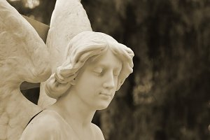 Funerary sculpture of an angel quiet