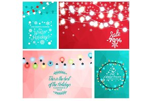 Winter Sale Set of Posters with Light Garlands