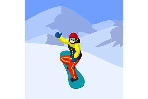 Vector flat cartoon snowboarder in mountains. Cartoon boy on snowboard