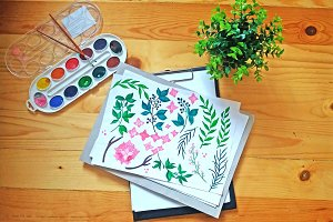 Hand drawn watercolor flowers set