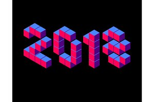 Isometric 2018 blue and red number on black