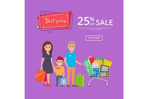 Best Price Proposition Banner with Family Shopping