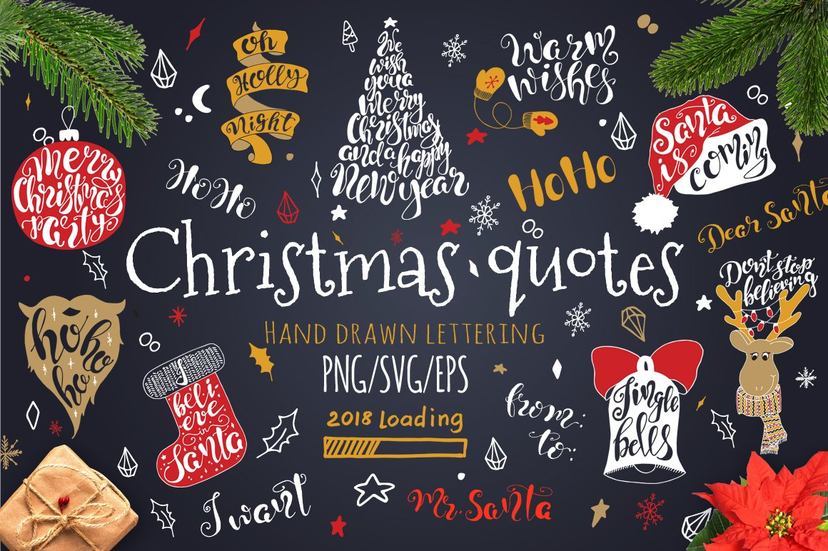 Merry Christmas Quotes Lettering Set Pre Designed Illustrator Graphics Creative Market