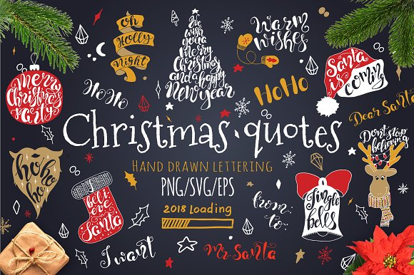 Merry Christmas quotes Lettering set ~ Illustrations ~ Creative Market