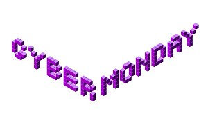 Cyber monday pixel isometric lettering on black