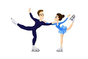 Pair skating. figure skating boy and girl, cartoon skate man and woman, boy and girl in Ice skates. Male and woman skating. Skating couple