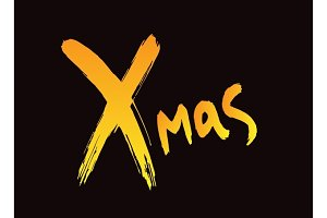 X-mas ink drawn lettering. X-mas ink calligraphy