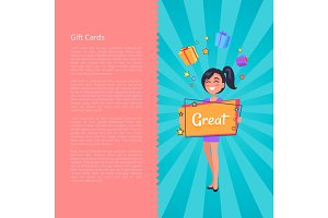 Gift Card with Smiling Girl Dreaming about Boxes