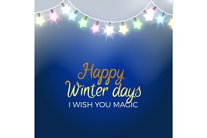 Happy Winter Days Poster I Wish you Magic Vector