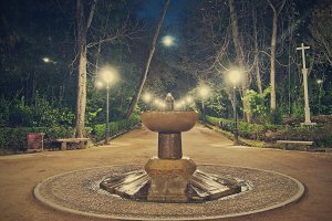 Fountain at the Alhambra forest at night