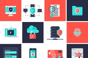 Data Protection Flat Icons Set