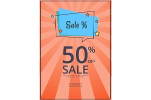 Sale Deals for You 50 % Off Sale with Text Vector