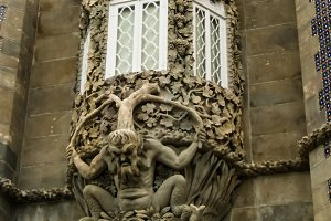 The depiction of a mythological triton in Pena palace, Sintra, Portugal