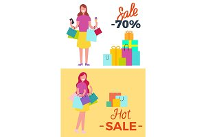 -70% Sale and Hot Sale Vector Illustration