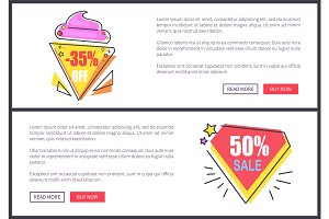 Sale -30% and -50% Off Set Vector Illustration