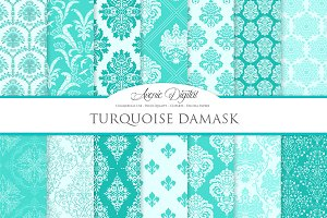28 Turquoise Damask Digital Paper