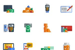 Payment icon flat set