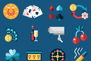 Casino gambling icons set