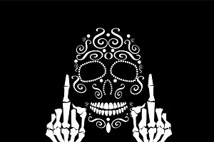 Skull vector with middle finger up